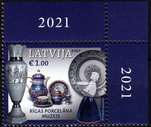 LATVIA 2021-13 ART: Pocelain Museum of Riga. CORNER, MNH