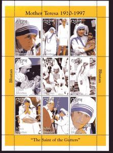 Bhutan 1998 Sc#1192/1193 Mother Teresa/ Diana/Pope John Paul II Shlt (9)+1 S/S