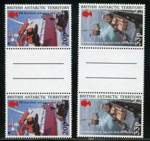 BRITISH ANTARCTIC TERRITORY SCOTT#289/92 GUTTER PAIRS MINT NH-SCOTT VALUE $52.00