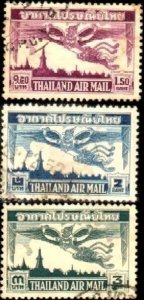 Garuda & Bangkok Skyline, Thailand stamp SC#C20-C22 used set
