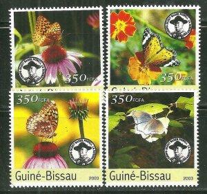 Guinea-Bissau MNH Set Butterflies & Flowers 2003