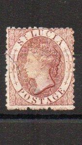 St Lucia 1863 1d wmk reversed FU