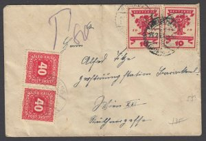 Austria, Scott J55 - Postage Due cover from GERMANY to Vienna