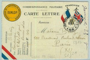 93141 - FRANCE - POSTAL HISTORY - Advertising Military STATIONERY flags DUNLOP