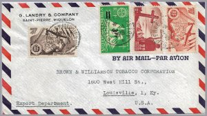 St. Pierre & Miquelon (France) - 1949 Airmail Commercial Cover to USA