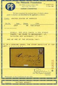 GENUINE SCOTT #1 TIED TO COVER WATERBURY TO BRIDGEPORT PF CERT 1 of 3 KNOWN