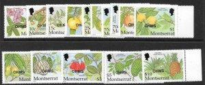 MONTSERRAT SGO137/51 2002 OFFICIALS STAMPS CARIBBEAN FRUITS MNH