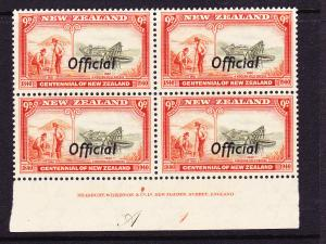NEW ZEALAND  1940  9d  CENTENNIAL OFFICIAL  PLATE BLK 4 # A1  MNH