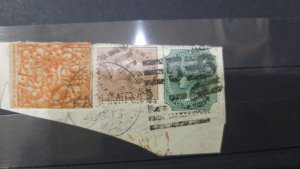 INDIA  J AND K VERY RARE USED ON PAPER WITH Q STAMPS