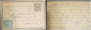 A) 1898, COLOMBIA, POSTAL STATIONARY, SHIPPED TO GERMANY, PACIFICO WITH OVERPRIN