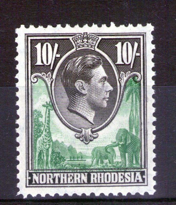 NORTHERN RHODESIA SG44 1938 10/- lightly hinged
