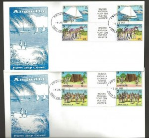 1982 Anguilla Scouts 75th anniversary sailing FDC gutter pairs