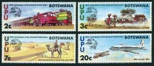 Botswana 110-113,MNH.Michel 110-113. UPU-100,1974.Locomotives,Coach,Camel.