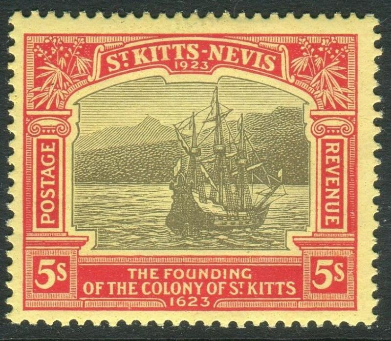 ST KITTS & NEVIS-1923 $5 Black Red/Pale Yellow.  A lightly mounted mint Sg 128a