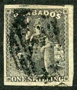 BARBADOS SG12a 1858 1/- Black Four Margins Cat 70