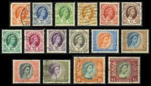 Rhodesia & Nyasaland #141-155 Elizabeth II, used set (56.80)