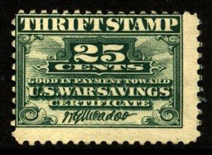 US Scott WS1 War Savings Mint Original Gum NH  stamp