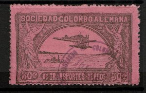 Colombia SC# C15, Used, Large Hinge/Page Remnants  - S10295