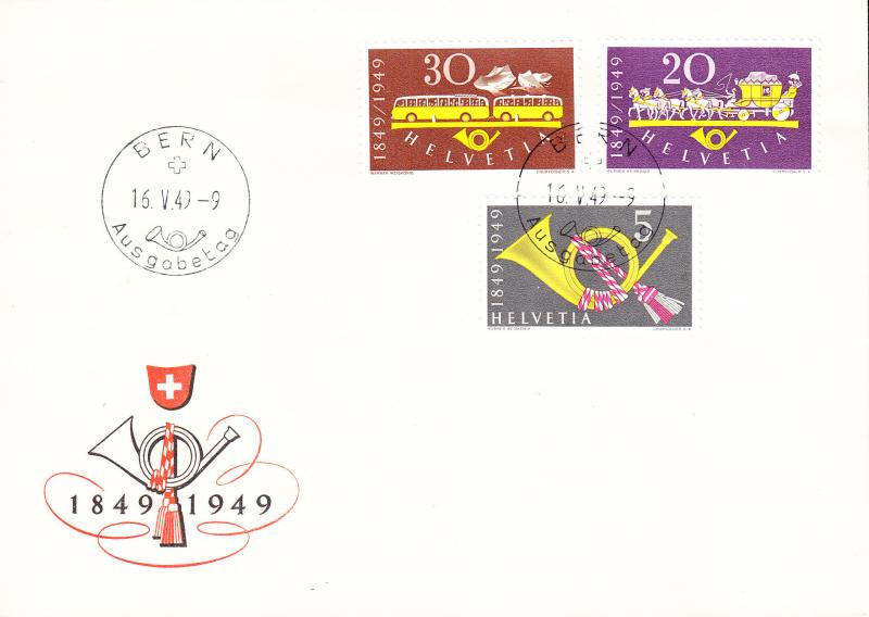 Switzerland 1949 100 years of Swiss Post.Complete on  First Day Cover