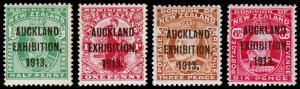 New Zealand Scott 130e, 131e, 133e, 137e (1913) Mint H VF Cplt. Set, CV$610.00 M