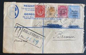 1919 Johannesburg Orange River South Africa Censored Cover to Bremen Germany