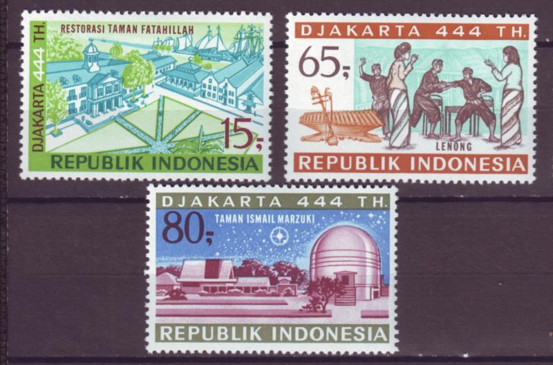 J21045 Jlstamps 1971 indonesia set mh #800-2 djakarta