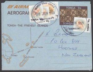 TONGA 1993 9s aerogramme uprated used to NZ.................................L417
