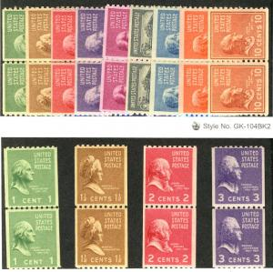 US #839 - 851 COMPLETE SET of PAIRS an LINE PAIRS, VF to XF mint never hinged...