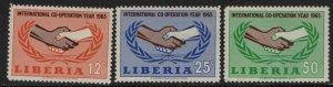 LIBERIA, 426-428, (3) SET,  MNH, 1965, ICY emblem