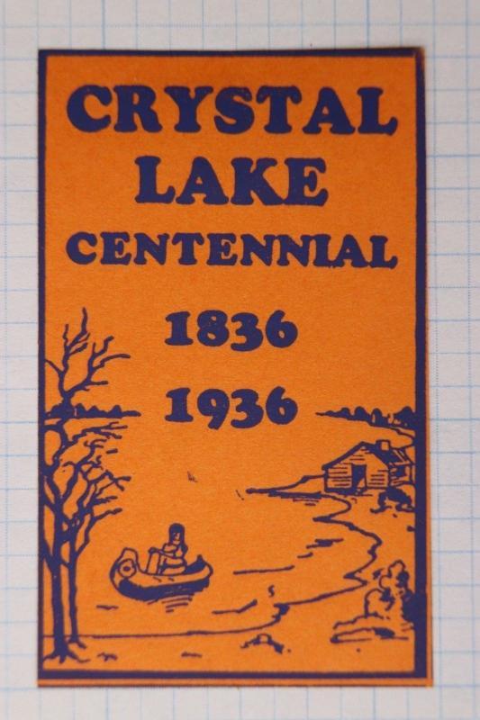 Crystal Lake IL Centennial canoe cabin jumbo Poster stamp art deco Orange 1936