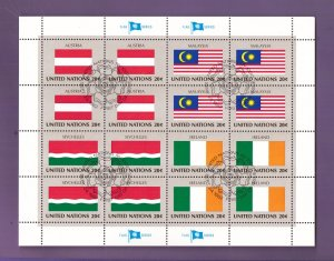United Nations New York #377a  cancelled 1982 sheet flags Austria  Malaysia