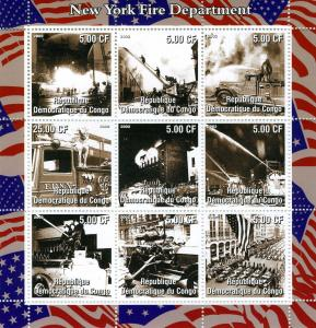 NEW YORK FIRE Sheet 9v Perforated Mint (NH)