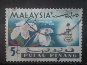 PENANG, 1965, used 5c, Orchids, Scott 69