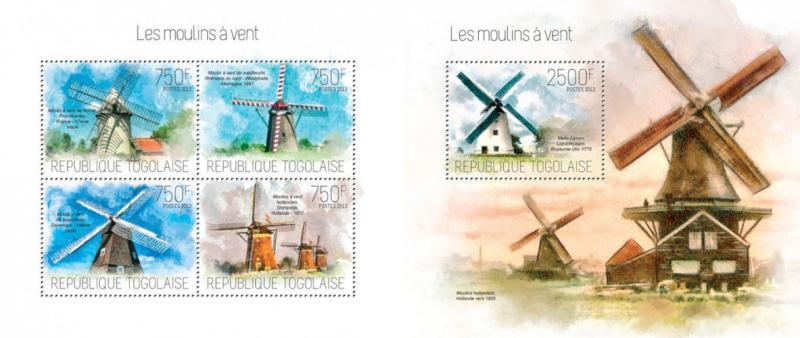 Windmills Windmühlen Architecture Togo MNH stamp set