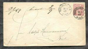 p926 - GERMANY 1869 HAMBURG I.A. Cancel on Cover to Kiel