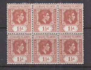 LEEWARD ISLANDS, 1938 KGVI  1 1/2d. Chestnut, block of 6, mnh
