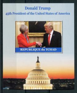 Chad Donald Trump Stamps 2017 MNH Meets Theresa May US Presidents 1v M/S