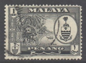 Malaya Penang Scott 56 - SG55, 1960 Elizabeth II 1c used