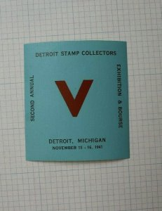 Detroit Stamp Club 2nd Annual Expo & Bourse WW2 Victory Souvenir Label Ad