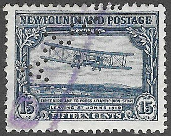 Newfoundland Scott Number 170 AYRE Perfin Used