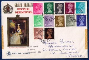 1971 FDC SG X481-SG-X883 Queen Elizabeth Decimal Cover Cancelled 15-2-71
