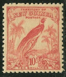 New Guinea 1932 10/ Rose Red Bird of Paradise Sc# 44 mint
