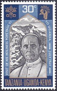 Kenya-Uganda-Tanzania # 201 mnh ~ 30¢ Pope Paul VI, Arms