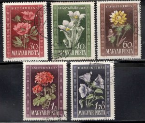 HUNGARY Scott 906-910 Used 1950 Flower set
