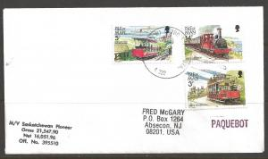 1989 Paquebot Cover, Isle of Man stamps mailed in Detroit Michigan