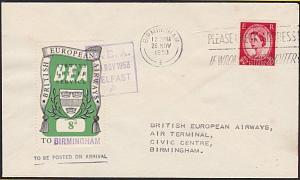 GB 1953 BEA 8d airmail stamp on flown cover Belfast to Birmingham...........5627