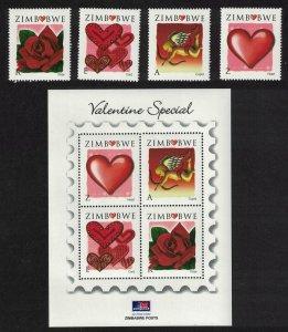 Zimbabwe Valentine's Day 4v+MS SG#1250-MS1254