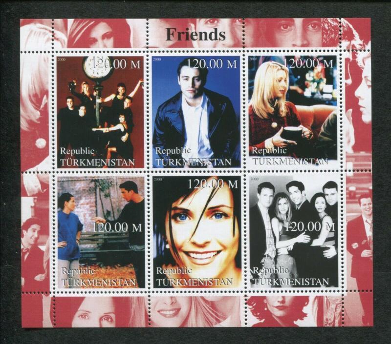 Turkmenistan Commemorative Souvenir Stamp Sheet - American Sitcom Friends