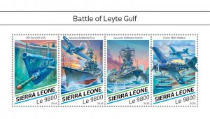 Sierra Leone Military Stamps 2018 MNH WWII WW2 Battle of Leyte Gulf Ships 4v M/S