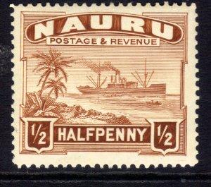 Naura 1937 - 48 KGV1 1/2d Century Freighter Umm SG 26bc P14 ( M1169 )